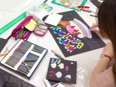 調布チョークアート教室の様子3