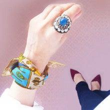 海を感じるマリンブルーをまとう!華やぐ天然石ブルー刺繍リング/指輪