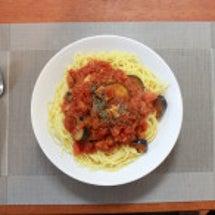 茄子とトマトのスパゲ…