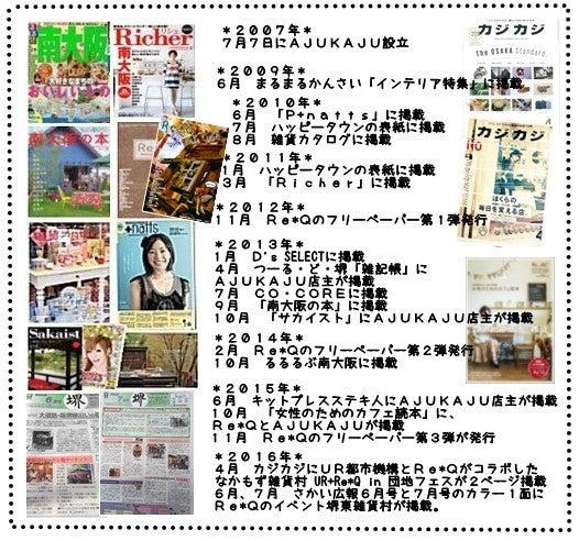 大阪、雑貨屋AJUKAJUのメディア掲載履歴