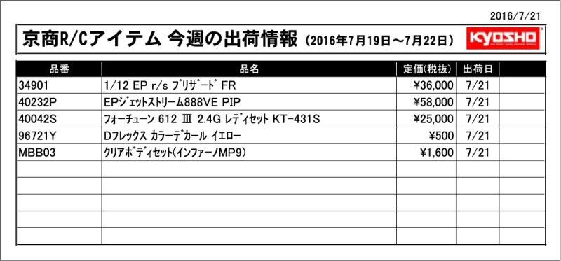 今週の出荷情報(2016年7月19~7月22日)