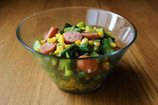 夏野菜とウインナーのホットサラダ01