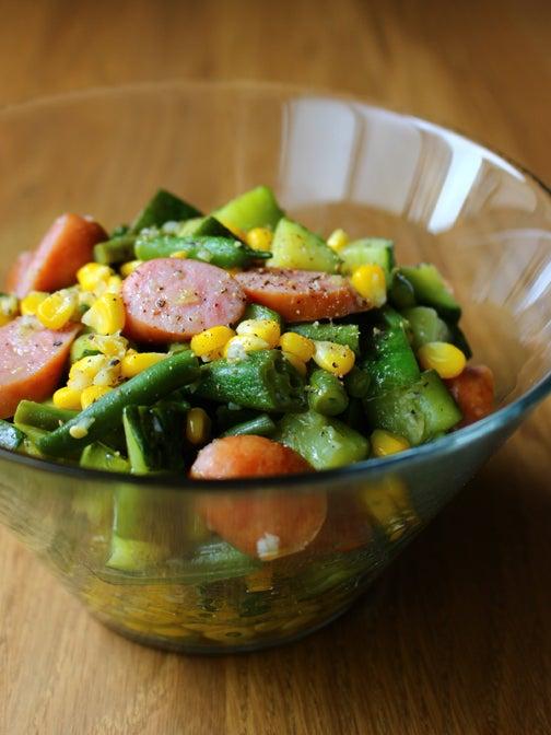 夏野菜とウインナーのホットサラダ02