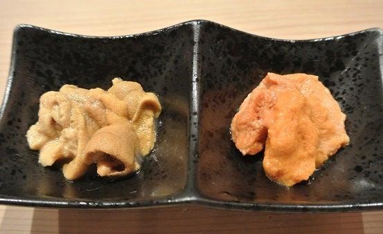 赤坂 藤   二種の雲丹の食べ比べ