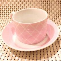 格子柄のカップ&ソー…