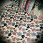 蓮の柄のベッドカバー