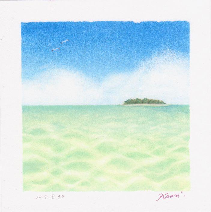 南国の海☆パステル和アート