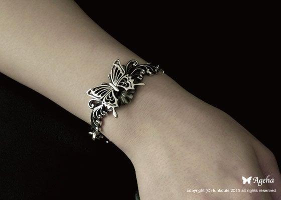 蝶と薔薇のレディースブレスレット