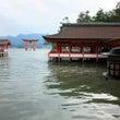 厳島神社・満潮時と干…