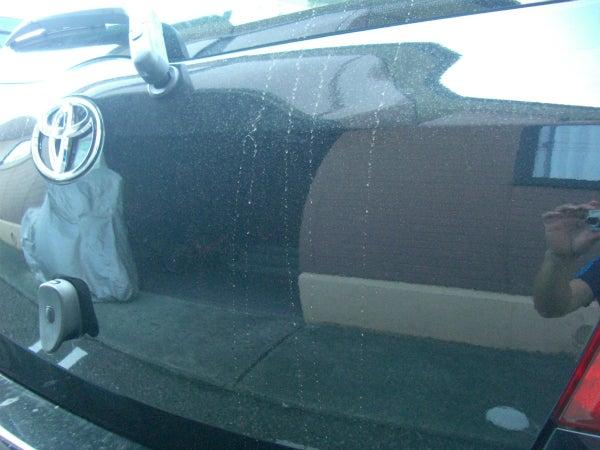 黄砂や農薬等で汚れた洗車前のヴィッツのボディ