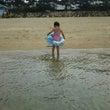 初の海水浴