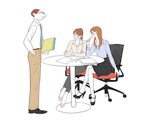 オフィスで打ち合わせする会社員、OLのイラスト