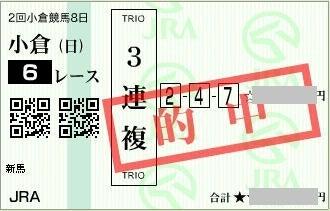 2016年8月21日小倉6R3連複