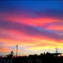 オーロラのような夕焼…