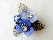 【ぶらん】青のお花のブローチB