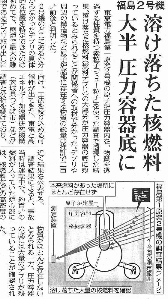 福島2号機溶け落ちた核燃料の大部分圧力容器の底