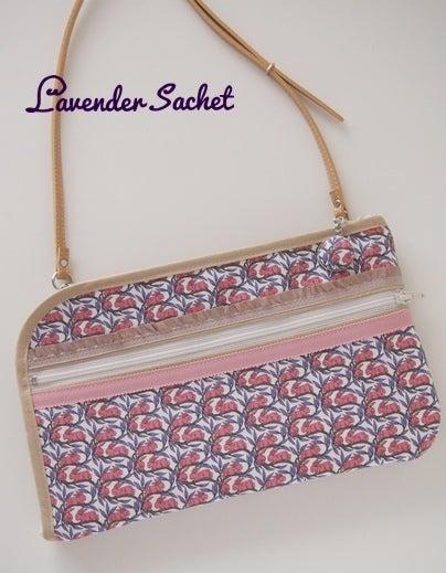 リバティプリント・コットンテイルのお財布ショルダー Lavender sachet