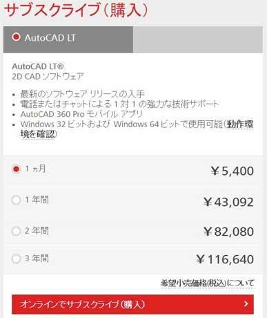 AutoCADサブスクライブ