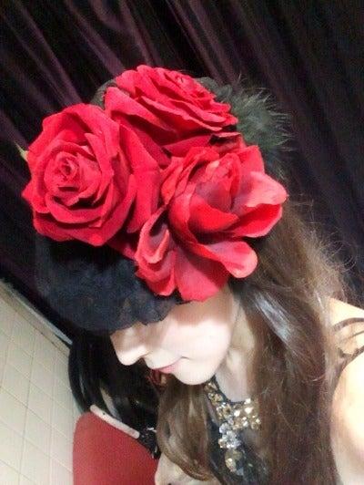 ヘッドドレス 赤バラ 薔薇