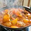 初めての韓国鍋、熱々…