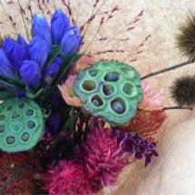 蓮の実と栗の花束