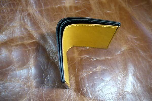 シンプルな折り財布(黒黄)岐阜県輪之内町A様1609-5