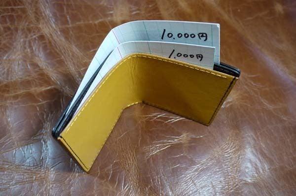 シンプルな折り財布(黒黄)岐阜県輪之内町A様1609-4