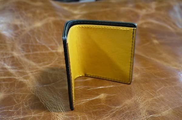 シンプルな折り財布(黒黄)岐阜県輪之内町A様1609-1
