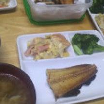 晩御飯と魚の骨。