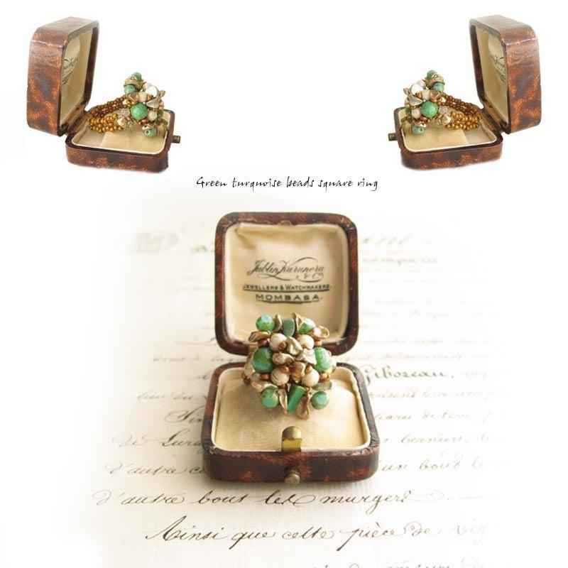天然石ビーズリング/指輪コーデ