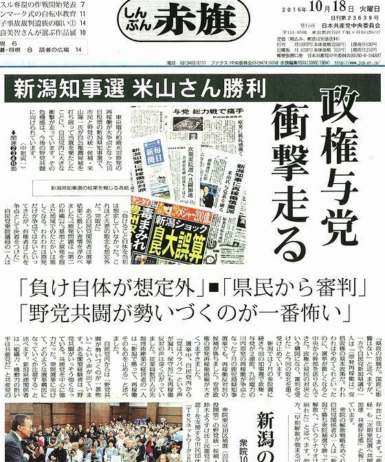 新潟知事選 米山さん勝利 政権与党 衝撃走る