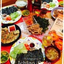 韓国風手巻き寿司で晩…