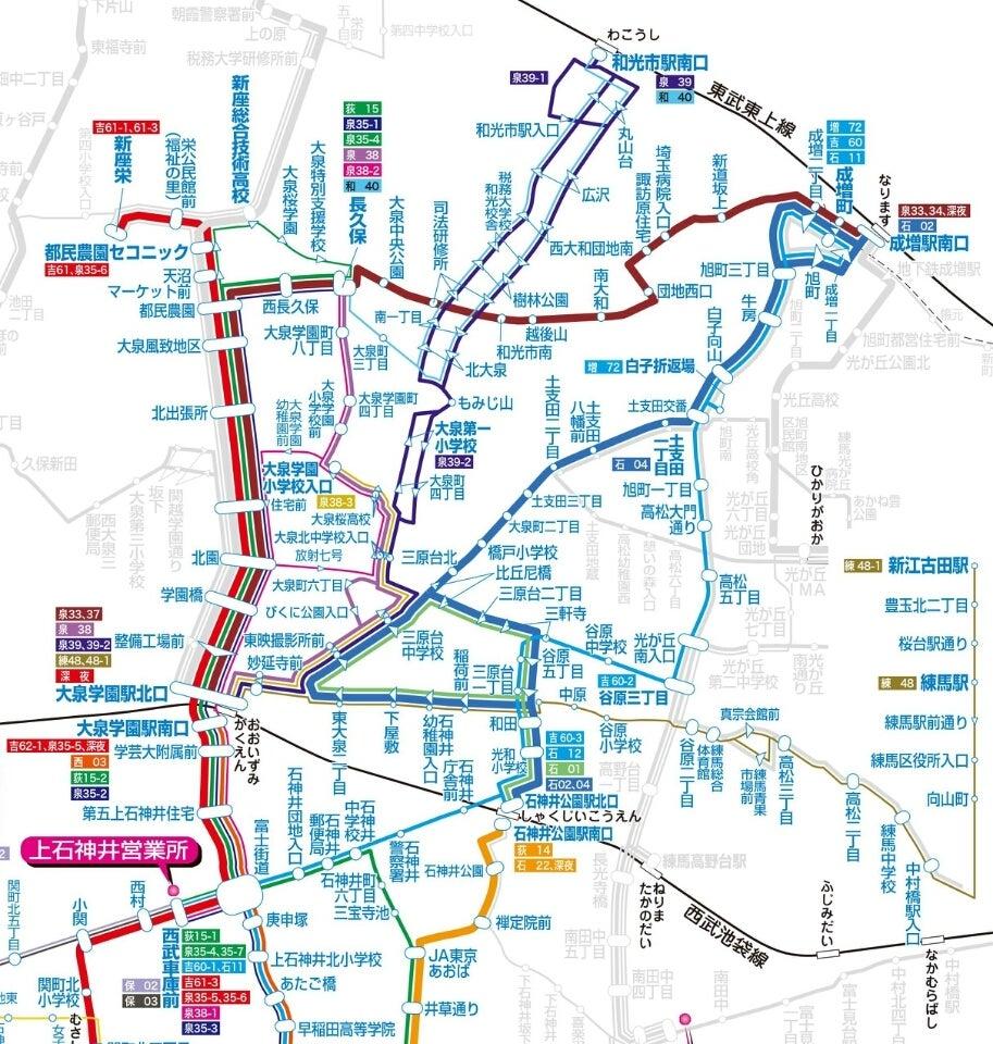 大泉ルート運行路線図:練馬区公式ホームページ