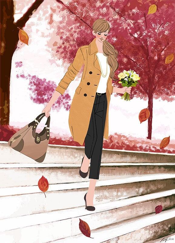 秋 紅葉 女性 花束 イラスト