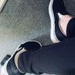 新しい靴を履いてでか…