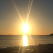 見事な夕日。