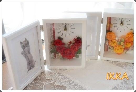 プリザーブロフラワー 写真立て付花時計