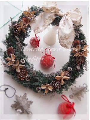 クリスマスリースプリザーブドフラワーヒムロスギ
