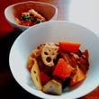根菜と鶏肉の煮物+白…