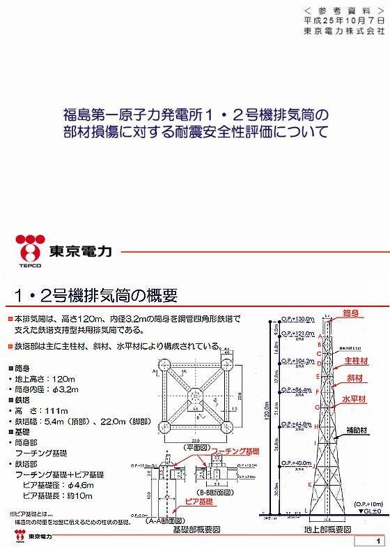 福島第一原子力発電所1・2号機排気筒の