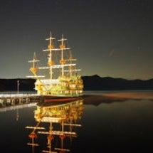 芦ノ湖 海賊船と星空
