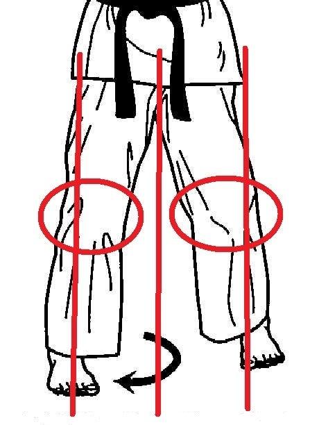 三戦立ち 中心軸と膝