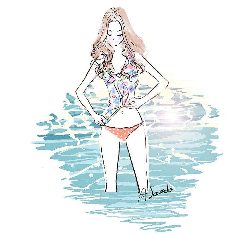 水着,女性,海,泳ぐ,ビキニ,イラスト作成のご依頼
