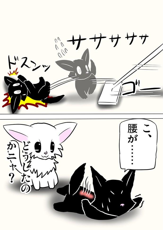 後ろに倒れる黒猫