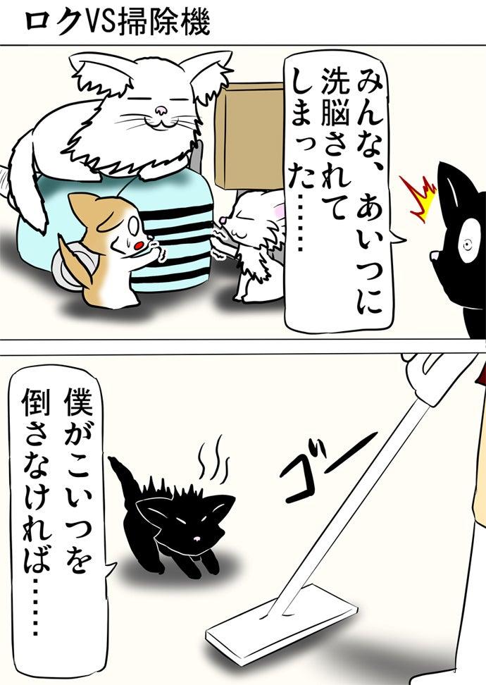 掃除機の上に乗っかっているメインクーン猫