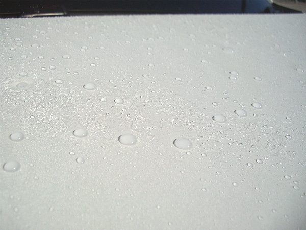 撥水型コーティングが施工されたボディの洗車後
