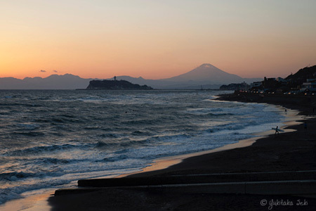 江ノ島と富士山夕景