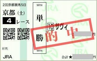 2017年2月11日京都4R単勝