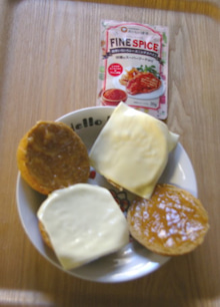 3 スライスチーズ・ピーナッツバター