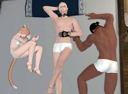 ミコ、エレ男、ハイラン男半裸ベッド